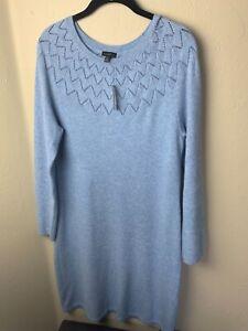 NWT Talbots M Pointelle Knit Sweater Dress French Iris Heather Blue Pretty