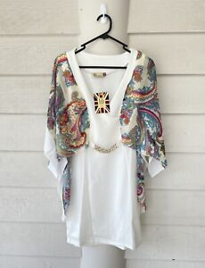 Size 14(New)Luxurious floral Flare sleeves Gold Belt Fit&Flare Mini Party dress