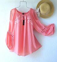 New~$68~Melon Coral Peasant Blouse Crochet Lace Shirt Boho Plus Size Top~1X