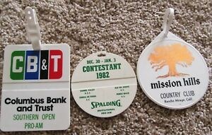 3 PLASTIC COMPETITOR BAG TAGS-THESE BELONGED TO PETER OOSTERHUIS