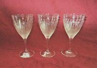 """Set Of 3 Wedgwood Crystal Wine Goblet Stem Glasses 7 1/4"""" Vintage Germany"""