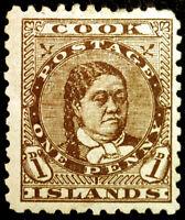 Cook Islands #9 1p Brown 1893 Queen Makea Takau VF MLH Full Gum Fresh