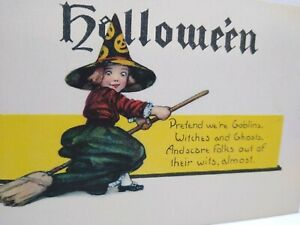 Halloween Postcard Cute Witch Girl On Broom Pretend We're Goblins Unused Vintage