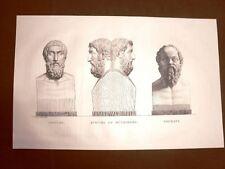 Incisione 1811 Epicure Métrodore Socrate Musée des Antiques Scultura Bouillon