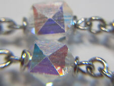"† SPARKLY VINTAGE STERLING & CRYSTAL SQUARED CUBED AB ROSARY NECKLACE 31 1/2"" †"