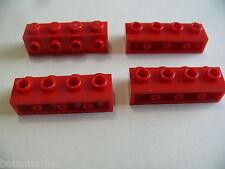 Lego 4 briques rouges set 8143 21101 10245 8654 / 4 red brick modified w/ studs