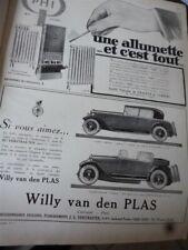 WILLY VAN DEN PLAS A voiture publicité papier ILLUSTRATION 1926