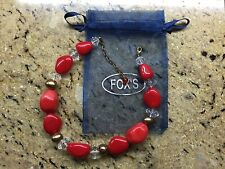 NWOT TRUE  RED  STONES  GOLD/GLASS   NECKLACE
