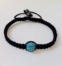 Shamballa Bracelet 10mm Light Blue Swarovski Crystal Bead & Hematite on Cord