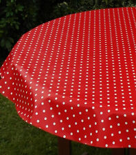 1.4x3.0m OVAL RED POLKA DOT / PVC WITH PARASOL HOLE / GARDEN TABLECLOTH
