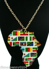 "AFRICA Map Metal 4"" Long Pendant-Country Flags-Geography-Multi Colored-28 inches"