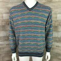 Vintage Cosby Norm Thompson Size Medium Men Sweater Vintage Coogi Style blue red