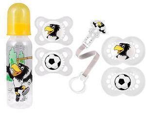 """MAM Fussball """"DFB"""" Schnuller Original Silikon DP & Clip & Babyflasche Fussball"""