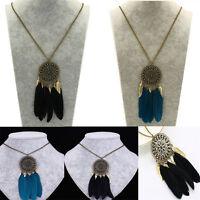 Women Fashion Retro Dream Catcher Pendant Long Chain Sweater Necklace Jewelry