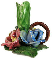 Italian Capodimonte Candle Holder Floral candlestick with Roses