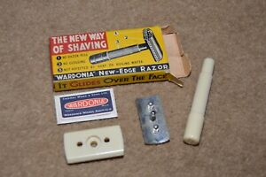 Vintage white Bakelite WARDONIA New Edge travel safety razor UNUSED