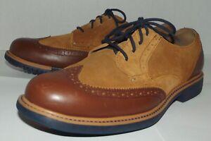 Cole Haan 9.5M Great Jones Wingtip Derby C13570 Tan Suede Brown Leather Oxfords