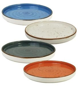 Set Of 4 Coloured Deep Dinner Plates 26.5cm x 2.5cm Hand Decorated Porcelain