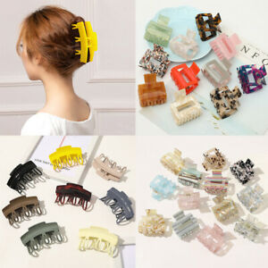 Women Hair Clamps Crab Square Acrylic Acetic Acid Geometric Hair Clip Hair Claws