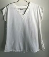 Oh My Gauze Size 1 White Vneck Pullover Boho Shirt Womens S/M