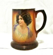 Antique Avon Porcelain Portrait Mug F Vettori 1890-1910 Lady Girl Young Woman