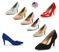 Women's Pointed Toe Pump Shoes Stilettos High Heel Slip On Wedding Party Pumps