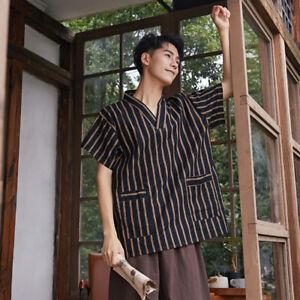 Chinese Japanese Mens Dark Brown Stripes Shorts Kimono Pyjamas Pajamas menpjs53