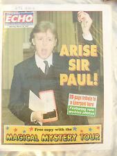 NEWSPAPER LIVERPOOL ECHO ARISE SIR PAUL MCCARTNEY March 10th 1997