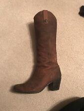 frye boots 8.5 women's Knee High Med Heel Tan Leather