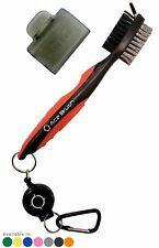 Golf Brush and Club Groove Cleaner By Ace Golf in Red, 2 Ft Cord, Brush Cover