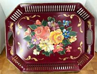 "Tole Ware Nashco Hand Painted 13.5"" x 17.5"" Metal Serving Flowered  Décor Tray"