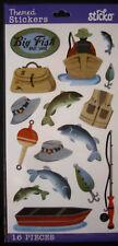 NEW 16 pc FISHING Fisherman Creel Fish Rod Boat Bobber Bait Lure STICKO Stickers