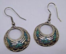 Pair of Vintage Sterling Silver LB Lee Brown ? Navajo Turquoise Earrings
