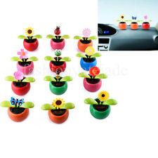 Home Car Flowerpot Solar Power Flip Flap Flower Plant Swing Auto Dance Toy