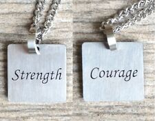 Strength & Courage - Inspirational / Expressional Double Sided Necklace Pendant