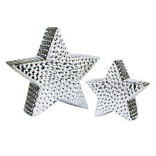Pair of Silver Star Ornaments Ceramic Home Decor Festive Christmas Decorations