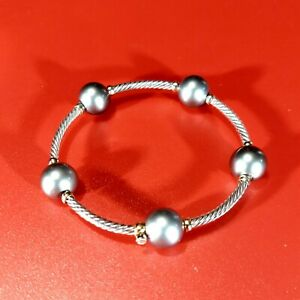 David Yurman. Gray Pearl.  Silver and Gold  Cable Bracelet.   NO RESERVE!!!