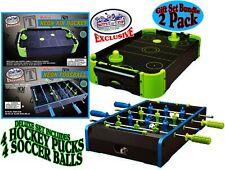 DLX Wooden Mini Tabletop NEON Air Hockey & Foosball (Soccer)