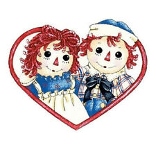 Wallies RAGGEDY ANN & ANDY wall stickers 25 prepasted decals ragdoll  heart doll
