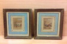 """Pair French Miniature Hand Painted PrintsTitled """"La Corde"""" & La Fossette"""
