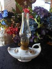"vintage JAPAN OIL LAMP porcelain genie style raised flowers white gold 7"" tall"