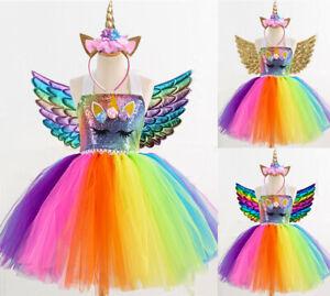 Kids Flower Girls Party Unicorn Tutu Fancy Dress Costume Headband Wing Outfit UK