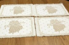 New listing Woven White Gold Metallic Christmas Angel Placemats Set Of 4 Reversible 13.5x21