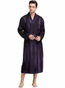 Men's Comfortable Light Weight Satin Robe with Pockets XX-Large Purple Striped