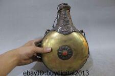Old Tibet Buddhism Temple Bronze 24K Gold Silver Gem Skull kettle water bag