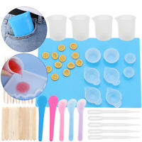 36Pcs DIY Silicone Mixing Measuring Cups UV Resin Mold Casting Jewelry Tool Kit~