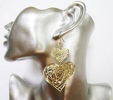 Splendido filigrana tono oro lucido cuore Dangle Orecchini Pendenti 8 cm leggero!