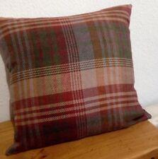 "Mulberry Ancient Tartan Wool Velvet Red Grey Green Gold Cushion John Lewis 18"""