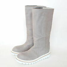 RICK OWENS $1,960 ice gray leather white platform creeper boots 41-IT/8-US NEW
