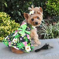 Doggie Design Hawaiian Hibiscus Dog Dress in Blue or Black Lagoon